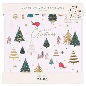 Julekort Merry Christmas Robin Trees 6pk