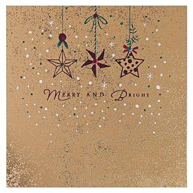 Julekort Merry Bright Stars 6pk