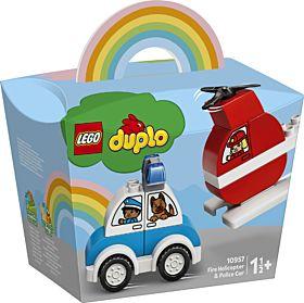 Lego Brannhelikopter Og Politibil 10957