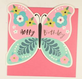 Systemkort PC Die Cut Butterfly Happy Bday