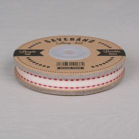 Ripsbånd hvit med røde sting 10m x 10mm