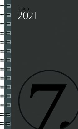 Lommekalender 2021 7.sans Datum Uke A6 Kartong Grå
