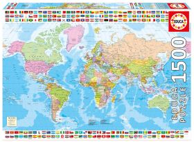 Puslespill 1500 Political Worldmap Educa
