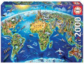 Puslespill 2000 World Landmarks Globe Educa