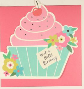 Systemkort PC Die Cut CuPCake Lovely Bday