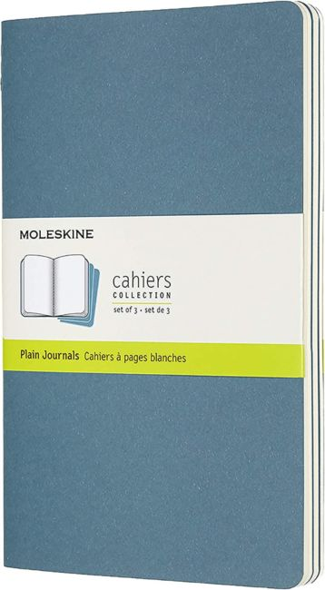 Notatbok Moleskine Cahier 3pk L - Blank Brisk Blue