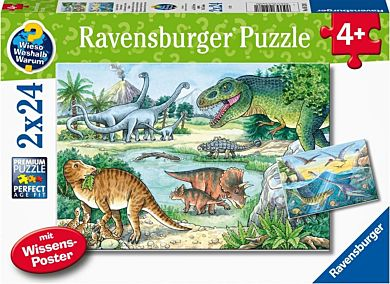 Puslespill 2X24 Dinosaurer Og Deres Liv Ravensburg