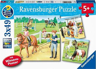 Puslespill 3X49 En Dag På Rideskole Ravensburger