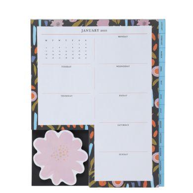 Kalender Desk Notes 2021 Floral 25X20cm
