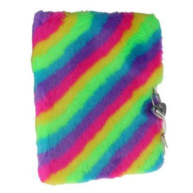Dagbok m/lås plysj regnbue